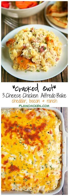 """""""Cracked Out"""" Three Cheese Chicken Alfredo Bake Recipe - chicken, cheddar, bacon, ranch, alfredo sauce, pasta, mozzarella - makes a ton! Great for a potluck. We like to freeze half of it unbaked for later. Great reheated too! Once of our favorite weeknight casseroles!"""