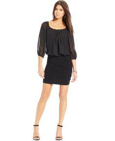 B Darlin Juniors' Three-Quarter-Sleeve Blouson Dress - Teenage Dresses - Browse - Macy's