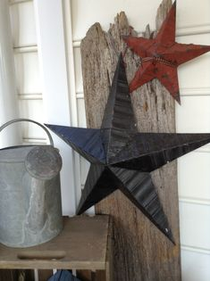 rustic stars on barn board