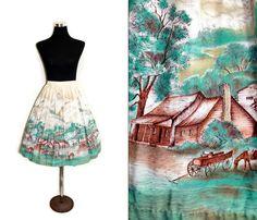 50s Skirt Novelty Print Skirt 1950s Circle Skirt by SissysVintage