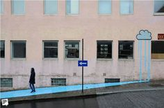 The 40 best street art works i've seen this year Urban Life, Urban Art, Rain Street, Kafka On The Shore, Paint Run, Urban Intervention, Best Street Art, Rain Clouds, Modern Metropolis