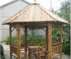 Bamboo Gazebos With Chairs And Table