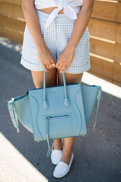Julia Engel of Gal Meets Glam wearing the 'Diamond Ring' & 'Athena Feather Ring' in gold from Katie Dean Jewelry. Celine Handbags, Celine Bag, Fashion Handbags, Fashion Bags, Preppy Style, My Style, Gingham Shorts, Blue Gingham, Beautiful Bags
