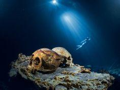 「メキシコ、ユカタン半島東部のトゥルム遺跡付近にあるセノーテ(泉)、ラス・カラベラス(頭骨)。西暦2~3世紀の人骨が発見された30年前まで、地元の人々はここで飲み水を確保していた。今も100体以上が暗い水底で眠りについている」
