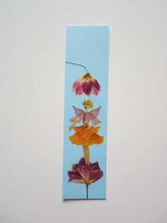 "Handmade unique bookmark ""Weather - probability of precipitation"" - Decorated with dried pressed flowers and herbs - Original art collage."