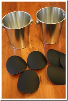 DIY Chalkboard Stickers:    1. Cut a piece of vinyl paper or contact paper  2. Spray with chalkboard paint and let dry  3. Create a stencil out of cardboard and trace on back side  4. Cut out chalkboard stickers  5. Season by rubbing chalk over sticker  6. Erase and write until your heart's content