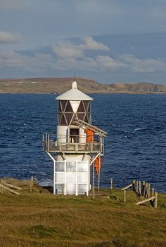 LUNNA HOLM Lighthouse, Lunna Island. Shetlands, Scotland