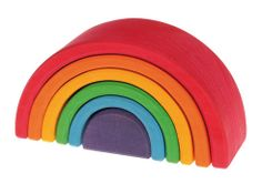The Rainbow tunnel is a greatly versatile toy! It includes 6 stacking elements, nested into each other. Little ones can stack, sort and build amazing shapes. As they grow older, they can use stacking elements as a cradle for dolls, as a fence for animals, tunnel or bridge for vehicles, as a house for dwarfs... the possibilities are endless!