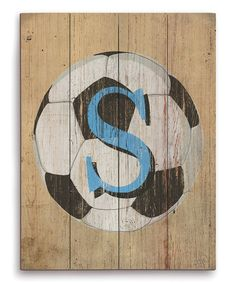 Soccer Ball Initial Wall Art on #zulily! #zulilyfinds