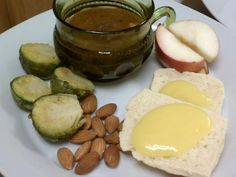 Debra - This lunch is: Beef Stew Brussels sprouts Southern biscuits with lemon curd Apple Slices, Nuts