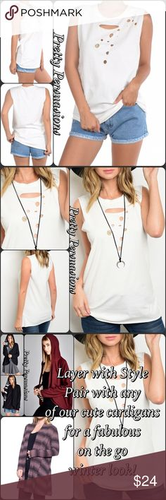 """NWT White Distressed Layering Tank Top NWT White Distressed Layering T-Shirt Tank Top  Available in S, M, L Measurements taken from a small  Length: 28"""" Bust: 34"""" Waist: 36""""  Cotton/Spandex  Features  • distressed detailing  • sleeveless  • round neckline  • soft, breathable material w/stretch • relaxed, easy fit  Bundle discounts available  No pp or trades  Item # 1/1011300240WDT white distressed tank top shirt casual wear layering Pretty Persuasions Tops"""