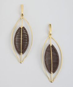 style #334838501 black woven leather and metal leaf drop earring