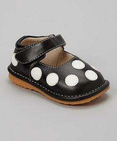 Loving this Black Polka Dot Squeaker Shoe on #zulily! #zulilyfinds