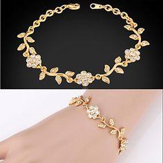 søde kvinder 18k guld platin forgyldt fancy kæde armbånd armbånd rhinestone krystal til kvinder af høj kvalitet – DKK kr. 45