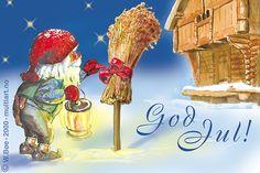 Julekortet med nissen og juleneket