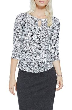 Vince Camuto Print Hardware Detail Keyhole Top