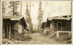 Emerald Lake Alberta Bungalows - Byron Harmon Real Photo Postcard #721