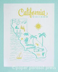 Letterpress Print California Vintage Travel by Paper Parasol Press Puerto Vallarta, San Diego, San Francisco, Rosarito, Las Vegas, California Dreamin', Vintage California, Letterpress Printing, Vintage Travel
