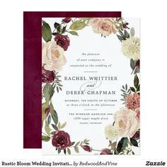 Wedding Planning Rustic Bloom Wedding Invitation - rustic gifts ideas customize personalize - Shop Rustic Bloom Wedding Invitation created by RedwoodAndVine. Personalize it with photos Elegant Wedding Invitations, Wedding Invitation Cards, Invites, Cheap Invitations, Watercolor Invitations, Invitation Envelopes, Shower Invitations, Wedding Stationery, Budget Wedding