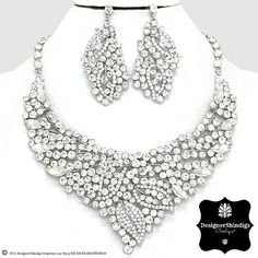 OW Rhinestone Silver & Clear Bridal Bib Necklace and Earrings Set Leaf by DESIGNERSHINDIGS on Etsy