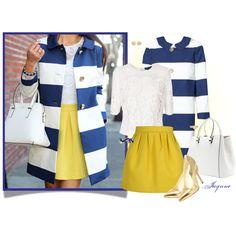 """'Spring Striped Coat'"" by ladyjaynne on Polyvore #KateSpade #Striped #Coat #Spring #royalblue #mustardyellow #yellow #pumps #gold #lace #handbag"