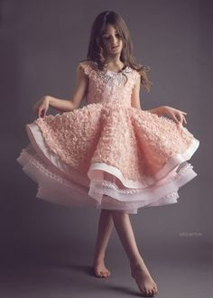 Peach rosette flower girl dress - blush dress - modern wedding - horsehair braid - SS2015 Collection Anna Triant Couture - FabTutus