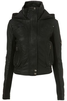 PU Hooded Bomber Jacket - Leather & PU Jackets - Jackets & Coats - Clothing - Topshop