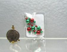 Dollhouse Miniature 6mm Red & Green Metallic Christmas Ornaments Set of 6