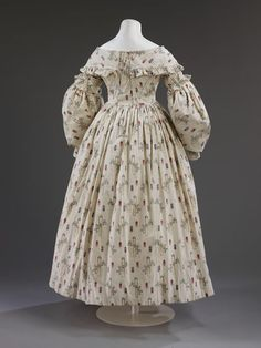 Wedding dress (image 3) | England | 1841 | cotton, linen | Victoria & Albert Royal Museum | Museum #: T.27-2006 | Example of wedding fashion worn by rural laborer's wives.