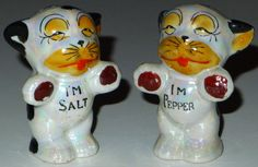 Japan lusterware boxer dogs vintage salt & pepper shakers