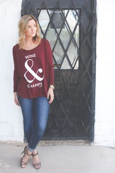 Wine & Champs is now on the website!!! this shirt is great for a girls night out or girls night in! #wine #champs