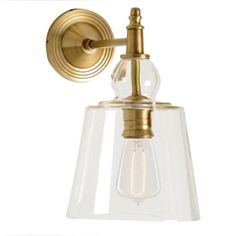 Barbara Cosgrove Antiqued Brass Glass Shade Wall Sconce BC907