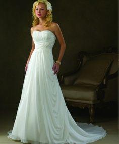 Chiffon Empire Waist Sweetheart Neckline A-line Wedding Dress