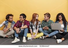 Multiethnic group of cheerful young people listening to music and using laptop over yellow background Group Of Five, Yellow Background, Listening To Music, Young People, Drawing Reference, Kids Playing, Cheer, Laptop, Website