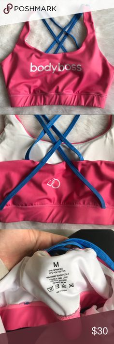 Women's Bodyboss Sports Bra Strappy Back Medium Gently used condition!   Our signature moisture-wicking, breathable sports bra will keep you cool and refreshed whilst working out.   Product Detail Our bras are double strapped for extra support and comfort Contrasting coloured straps with Bodyboss logo on front and back Suitable for medium-impact Signature moisture-wicking fabric to keep you cool and refreshed Anti-bacterial technology Breathable Elasticated band for a custom fit. Material…