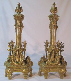 French Andirons Solid Brass Ornate Andirons by RedWalrusShoppe