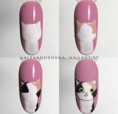 Paint your own kitty 🐱 - Best Trend Nails Animal Nail Designs, Girls Nail Designs, Animal Nail Art, Gel Nail Art Designs, Nail Art Designs Videos, Simple Nail Art Designs, Nail Art Images, Nail Art Hacks, Nail Art Diy
