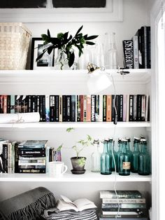 Shop domino for the top brands in home decor and be inspired by celebrity homes and famous interior designers. domino is your guide to living with style. Cool Bookshelves, Bookshelf Styling, Bookshelf Wall, Bookcases, Book Shelves, Ikea Bookcase, Design Diy, Home Design, My New Room