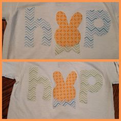 DIY Easter shirts- purchased a template on Etsy, cut the pattern out of coordinating fabrics, and Heat Bonded it onto a white shirt.