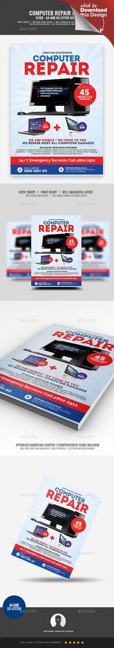 acer, advertisement, asus, broken, cellphone, computer, corporate, efficient, electronic repair, fast, fast repair, fix, flyer design, gadget, good, htc, iphone, laptop, macbook, nokia, promotion, repair, replacement, samsung, services, smartphone, technology Computer Repair Shop Flyer Design Template   Boost your company's sales and attract new customers! This Computer Repair Shop Flyer Design Template have been developed to boost your Ultimate Marketing strategy and brand/product…