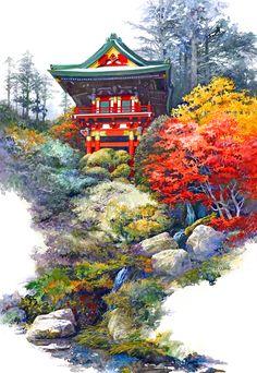 Japanese Tea Garden Painting Image Temple Gate Watercolor San Fransisco.jpg (612×887)