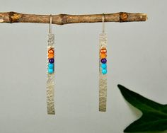 Multicolor silver earrings, long hammered earrings, bar earrings, geometric jewelry, rectangular earring, gift for mom, modern drops by ColorLatinoJewelry on Etsy