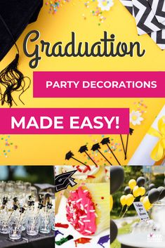 By choosing the perfect decorations for your graduate's big day, you can give them an experience that they will never forget. That's exactly what you want, right? Graduation Table Decorations, Simple Table Decorations, Graduation Party Planning, Cap Decorations, Graduation Party Decor, Graduation Cards, Grad Parties, Graduation Ideas, Party Needs
