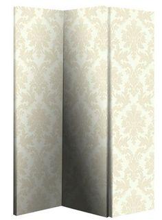Cream Damask Room Divider Screen 3 Panels 2 Fold | eBay