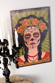 "Day of the Dead Woman Canvas Art, 16""x24"""