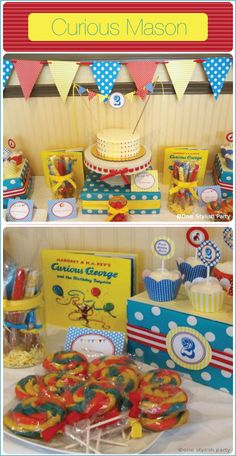 Curious George Birthday Party by One Stylish Party Featured on Ideas in Blume by Blumebox. Curious George Party, Curious George Birthday, 4th Birthday Parties, Birthday Fun, Birthday Ideas, Kid Parties, Third Birthday, 2nd Birthday Invitations, First Birthdays
