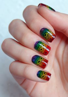 """Stamped over my rainbow mani! Also, this week's prompt for #31dc2016weekly was """"inspired by a song"""". I chose Roar by Katy Perry .. Stamping tribal sobre mi mani de arco iris, inspirado en Roar de Katy Perry .. # # #stamping #rainbow #rainbownails #nailart #nailartwow #instanails #nailstagram #photooftheday #followme #notd #nailfeaturedaily #nailpromote #nails2inspire #nailartoohlala #roar #tribalnains #bundlemonster"""