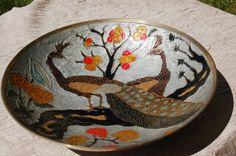Enameled Brass Bowl, Art Nouveau Cloisonne Peacock Bowl, Decorative Bowl with Pair of Peacocks