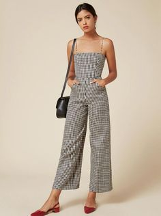 Yes a gingham jumpsuit with red shoes! Perfect.