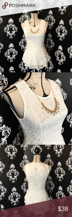 NWT! 🍀 Gorgeous white Lace Tank W/Necklace! This tank is absolutely stunning with the gorgeous hourglass shape! The material is light white lace that is stretchy for a perfect fit! Not to mention the Beautiful necklace that accents this tank perfectly to dress it up a little bit more! The necklace is removable if you want to dress it down as well! Brand new with tags! Smoke free home. Tops Tank Tops